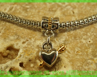 Pearl European bail N199 heart charms bracelet