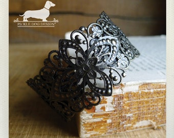 Laced. Brass Cuff Bracelet -- (Vintage-Style, Victorian, Rustic Chic, Simple, Lace, Bridal, Fall, Autumn, Boho, Birthday Gift Under 20)