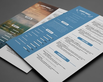 Clean Resume Template:  Photoshop PSD Instant Download.  Photographer, Designer, CV - Easy Editing, Layered, Change Colors and Details Fast