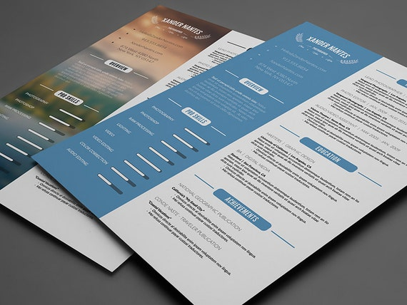 Elegant Clean Resume Template: Photoshop PSD Instant Download.
