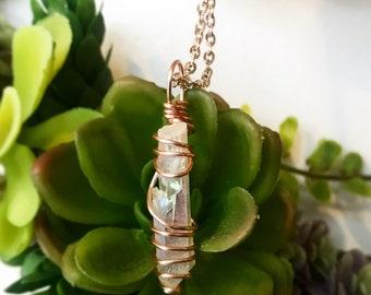 Aura Quartz Rose Gold Necklace