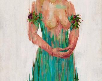 Momma Herb. Art by Dillon Endico. Archival Canvas print of original art. Visionary art print.