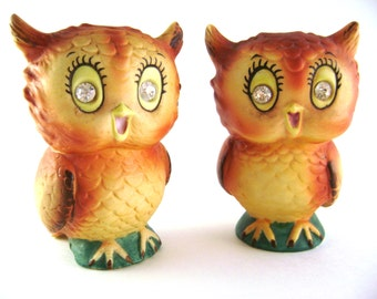 Owl Salt and Pepper set Japan made Cutest Ever with Rhinestone Big Eyes and Adorable Happy Expressions Collectible owls