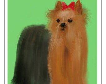 Yorkie Terrier Dog Illustration-Pop Art Print