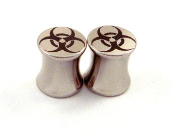 "Bio Hazard Stainless Steel Plugs - Double Flared - 2g 0g 00g 7/16"" (11 mm) 1/2"" (13mm) 9/16"" (14mm) 5/8"" (16mm) Symbol Metal Gauges"