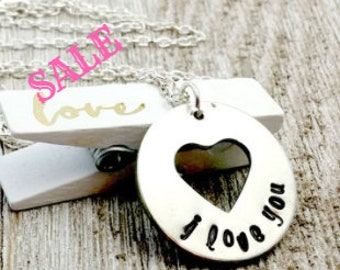 Hand Stamped I Love You Necklace, Silver, Pewter