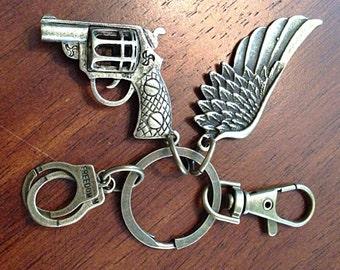 Christian keychain, Pistol Keychain, Angel Wing Keychain, Hand Gun Keychain, Handcuffs and Pistol Charm
