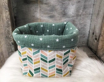 Fabric baskets double gauze and cotton for dressing - table tidy - green, pink, beige or storage basket