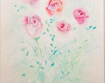 Roses Original Watercolor Painting Art Work by AliiArtColors