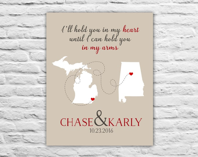 Long Distance Relationship Gift for Boyfriend, Husband, Fiance, Wife, Deployment Countdown Military Love Custom Gift, Personalized Art Print