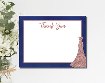 Bridal Shower Thank You Cards Thank You Cards Navy Rose Gold printable printed thank you cards wedding thank you