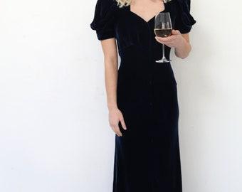 1930s midnight blue silk velvet gown