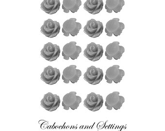 Rose Cabochon Sterling Silver  Roses Resin Retro Flower 10mm Gorgeous Flatback 20 pc