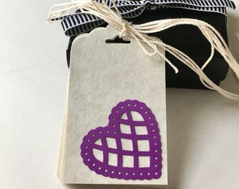 Purple Lace Heart Gift Tags - All Occasion Gift Tags - Set of 10 - Blank