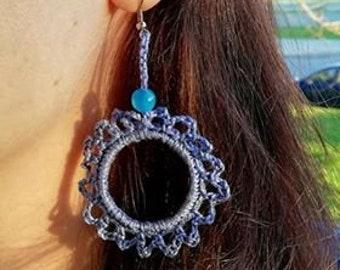 Crochet earrings, fiber earrings,  Simple earrings, Hoop earrings, Blue crochet jewelry, everyday