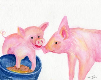 Pigs watercolor painting original, 8 x 10 happy pigs art animal art, pigs watercolor, funny animal art, watercolor painting pig decor