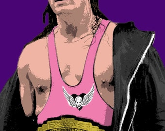 WWE Bret Hart Stylised Pop Art Poster Print