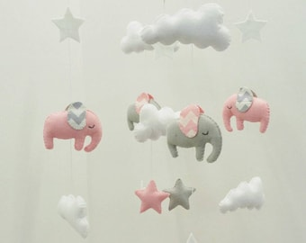 Light pink and light grey elephants baby mobile with chevron ears - cute little nursery mobile made to order