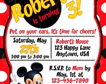 Mickey Mouse Birthday Party Invitation/ Mickey themed Party Invitation