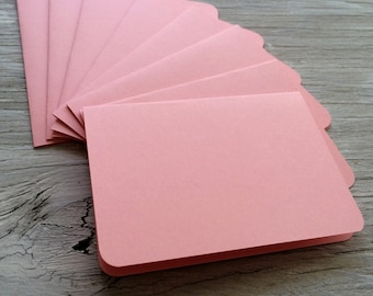 Blank note cards, rounded corner cards, pink cards,  set of 4