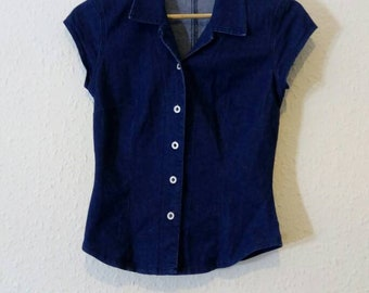90s Stretch denim blouse