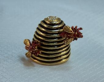 OBO - Beehive Fashion Brooch, Enameled Beehive Brooch