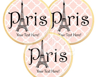 Paris Eiffel Tower Sugar Cookies - Photo Cookies, Edible Favor, Edible Images, Custom Cookies **Ships in 3-5 BUSINESS Days**