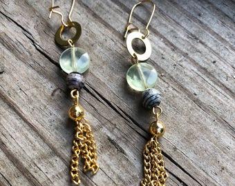 Brass and Gemstone Tassel earrings