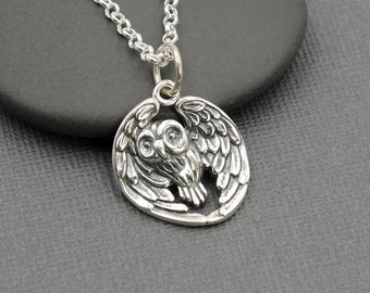 Silver Owl Necklace - 925 Sterling Silver owl jewelry, bird jewelry, owl with wings, owl flying