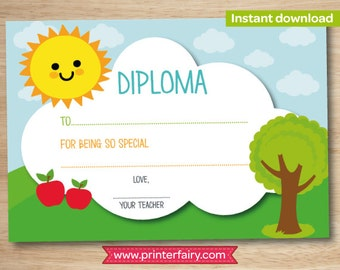 Preschool diploma, last day of preschool, preschool graduation gift, kindergarten diploma