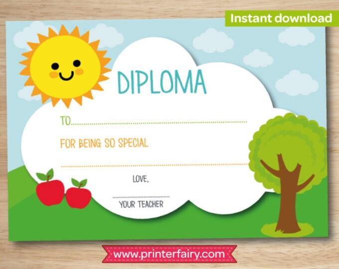 Preschool diploma, last day of preschool, preschool graduation gift, kindergarten diploma