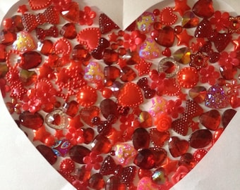 60 mixed flat back embellishments hearts flowers pearls stars  scrap booking card making frames 7 colours