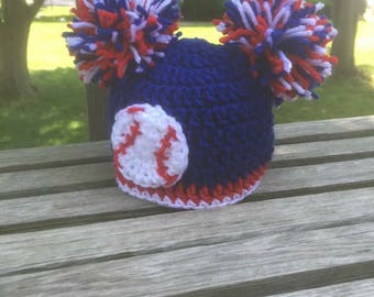 Crocheted baseball pompom baby hat