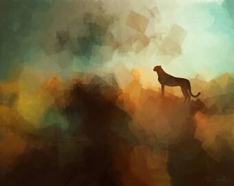 Cheetah Lookout - Original Wildlife Art - Downloadable Art Print - Instant Download - Exclusive