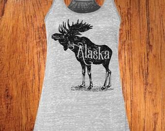 Women's Tank Alaska shirt alaska state shirt moose shirt alaska moose top Racerback Tank top  workout top hiking topChristmas Gift