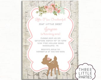 Little Miss ONEDeerful  Invitation, Woodland Animal Birthday Invitation, Printable Girl Deer Birthday Invitation, Our Little Deer Invitation
