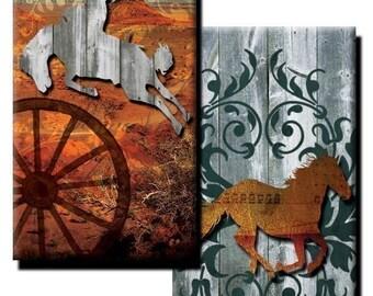 Western Theme collage sheet - 1 inch x 2 inch - (2) Digital sheets