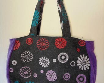 Women's bag, purple bag, flower bag, flower bag, colored bag, spring bag, shoulder bag, shoulder bag, handbag