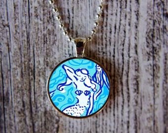 Lilly Pulitzer Inspired Necklace, Lilly Pulitzer Inspired Jewelry, Mermaid Necklace, Nice Tail Necklace, Preppy Necklace