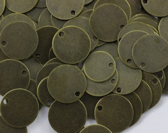 150 Pcs Antique Brass Round Stamping Blanks, 10 mm One  Hole Bronze Coins, 26 Gauge Round Stamping Discs, Stamping Blanks, Stamping Tags