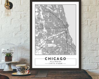 Chicago, City map, Poster, Printable, Print, Street map, Wall art
