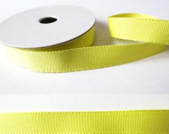2 m x fancy 10mm CHARTREUSE yellow GrosGrain Ribbon