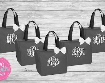 Set of 9 Zipper Bridesmaid Totes , Bridesmaid Gifts, Charcoal Totes, Gray Totes, Bridal Party Gift, Bridesmaid Tote Bag Personalized