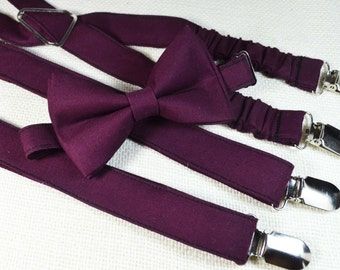 Burgundy bow tie and Suspender Set for baby/toddler/teen/Adult/Men