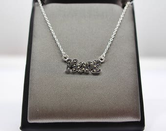 Sterling Silver Marcasite Hope Necklace