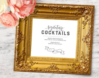 Signature Cocktail Wedding Sign Template (5x7 and 8x10) - INSTANT DOWNLOAD