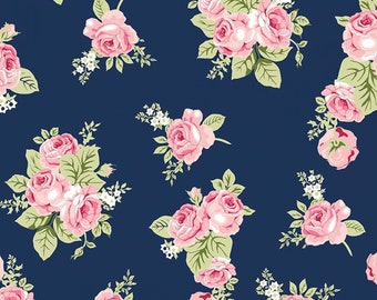 Stretchy Blue Love Story Floral Cotton Knit fabric