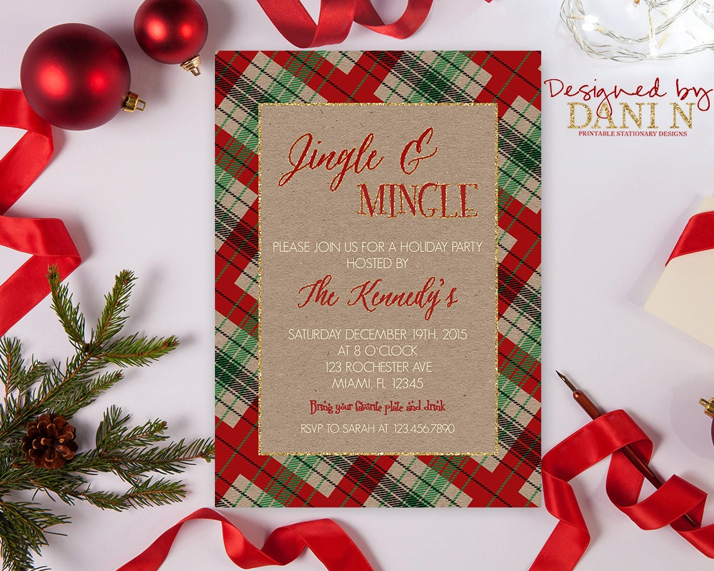 Jingle and Mingle Holiday Invitation Christmas Party Invite