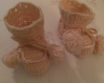 Adorable Vintage Pink Knitted Baby Booties