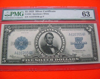 1923 US 5 Five Dollar Bill Porthole FR282 Speelman White Silver Certificate Large Banknote Bill Paper Money PMG 63 Grade Choice Uncirculated